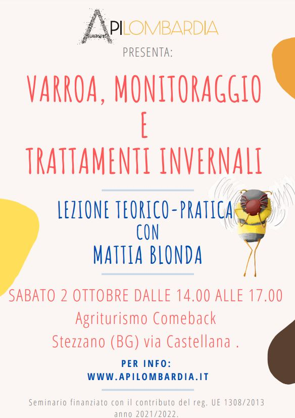 """02 Ottobre – Seminario """"Varroa, Monitoraggio e trattamenti invernali"""""""